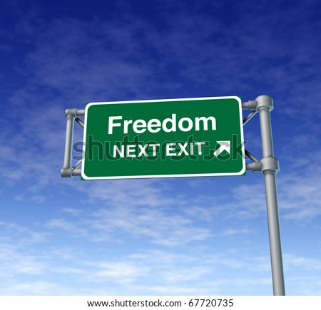 freedom Freeway Exit Sign highway street symbol green signage road symbol