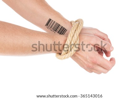 Freedom of privacy. Hands tied with barcode. - stock photo
