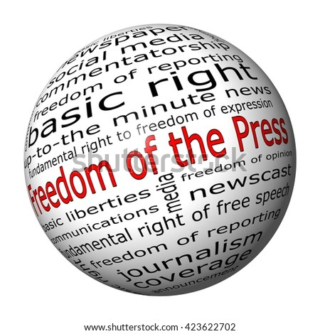 Freedom of the Press wordcloud - 3D illustration - stock photo