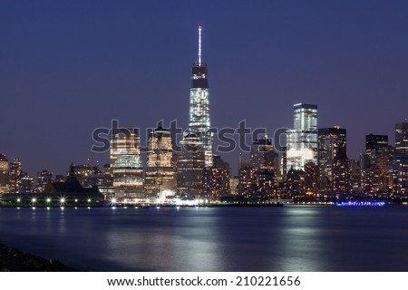 Freedom Tower from across the Hudson River at Dusk