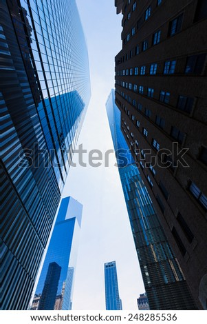 Freedom Tower Manhattan and skyscrapers low angle view New York USA - stock photo