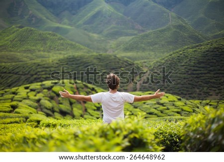 freedom young man in mountains on tea plantation - stock photo