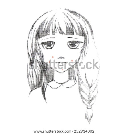 Freehand drawing medical icon Acne.Teenage girl with a pimple on her cheek. Acne vulgaris. Acne of a 14-year-old during puberty. Rubella. Rash on face and body - stock photo