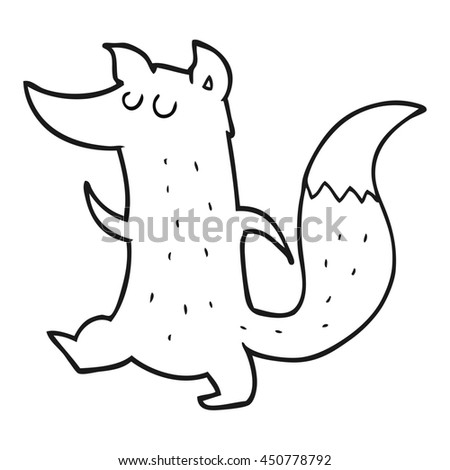 freehand drawn black and white cartoon cute wolf