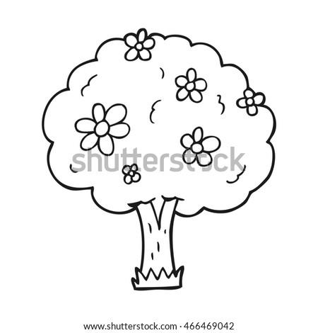 Freehand drawn black white cartoon tree stock illustration 466469042 freehand drawn black and white cartoon tree with flowers mightylinksfo