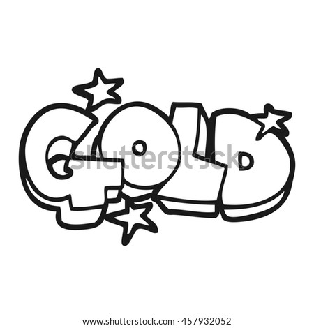 freehand drawn black and white cartoon word gold