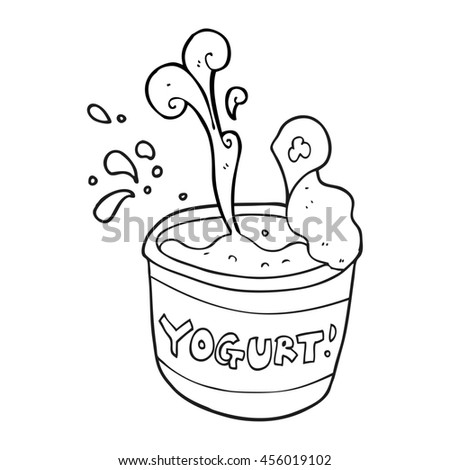 freehand drawn black and white cartoon yogurt