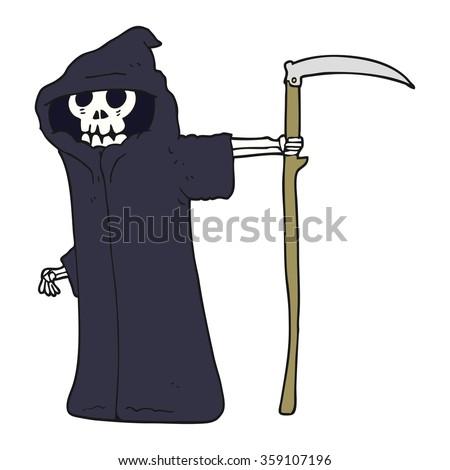 freehand drawn cartoon death - stock photo