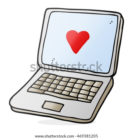 Freehand Drawn Cartoon Laptop Computer Heart Stock Illustration