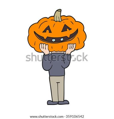 freehand drawn cartoon pumpkin head halloween costume - stock photo