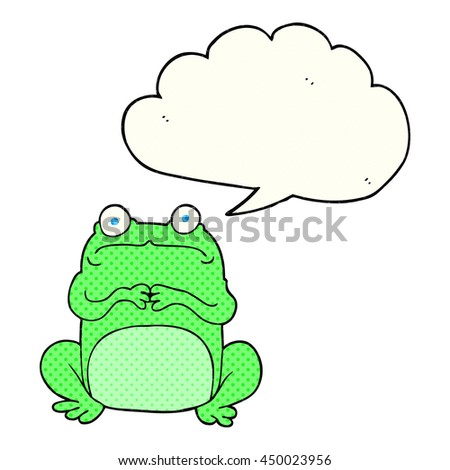 freehand drawn comic book speech bubble cartoon nervous frog