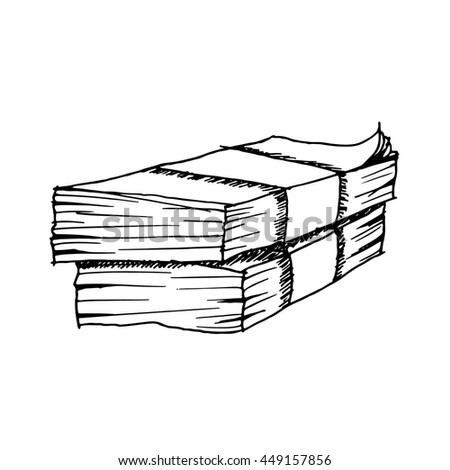 Freehand drawn money on white background.illustration. - stock photo