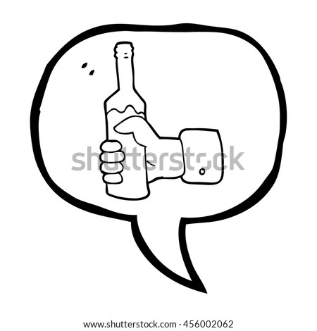 freehand drawn speech bubble cartoon hand holding bottle of wine - stock photo