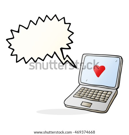 Freehand Drawn Speech Bubble Cartoon Laptop Stock Illustration