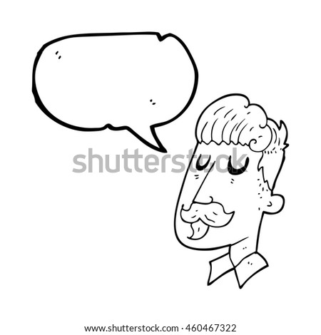freehand drawn speech bubble cartoon man with mustache