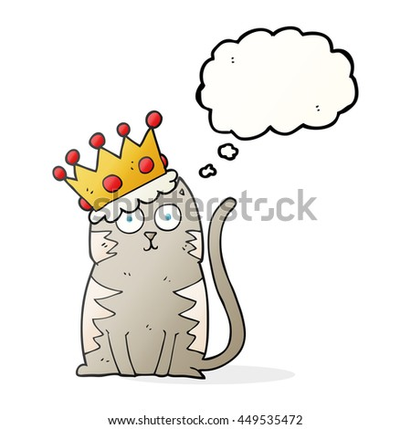 freehand drawn thought bubble cartoon cat with crown