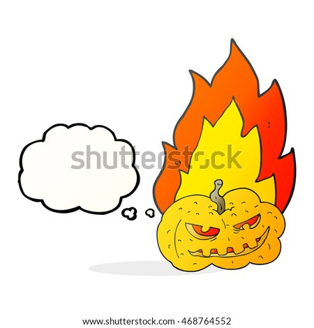 freehand drawn thought bubble cartoon flaming halloween pumpkin