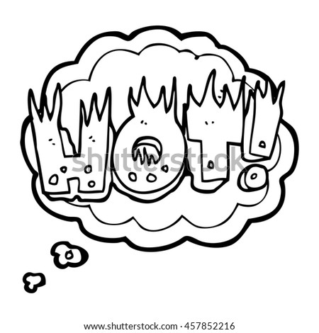 freehand drawn thought bubble cartoon hot symbol