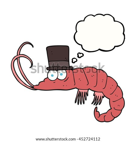 freehand drawn thought bubble cartoon shrimp - stock photo