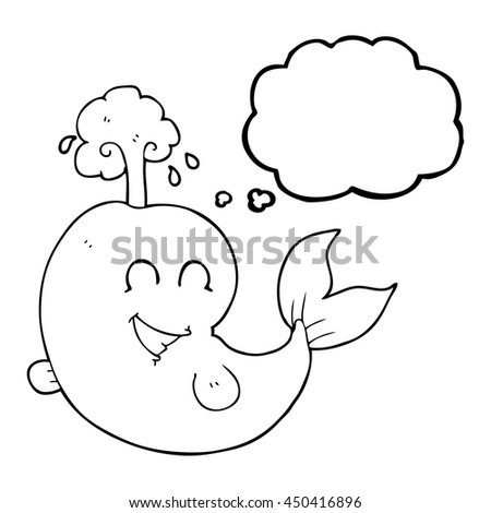 freehand drawn thought bubble cartoon whale spouting water