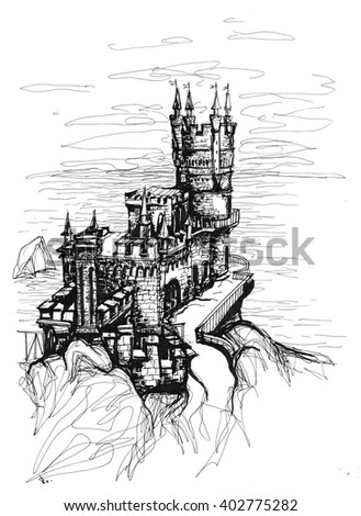"""Freehand ink drawing. """"Swallow's nest"""" castle, Crimea. - stock photo"""