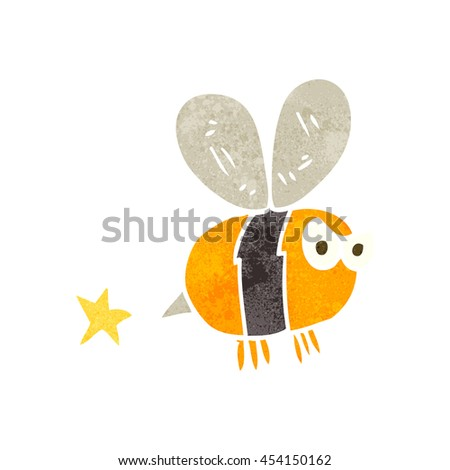 freehand retro cartoon angry bee - stock photo