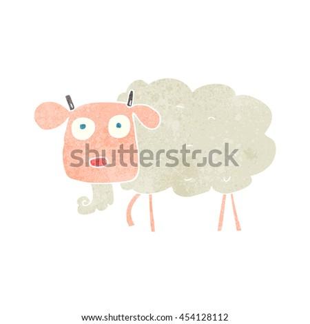 freehand retro cartoon goat - stock photo
