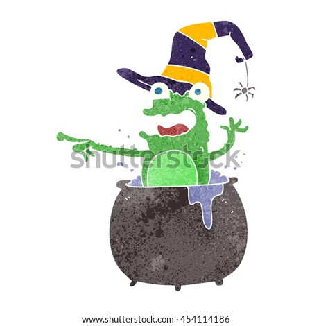 freehand retro cartoon halloween toad - stock photo