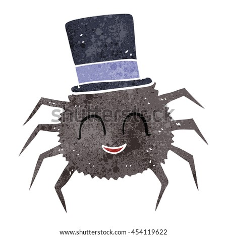 freehand retro cartoon spider wearing top hat - stock photo