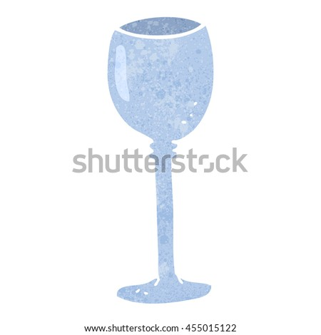 freehand retro cartoon wine glass - stock photo