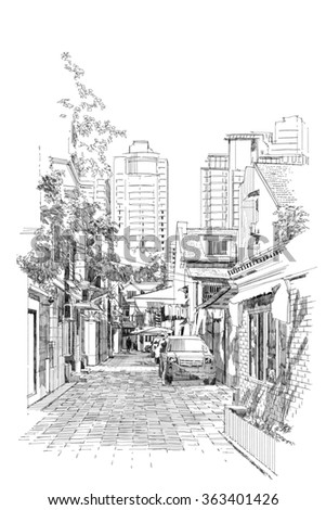 freehand sketch of old street - stock photo