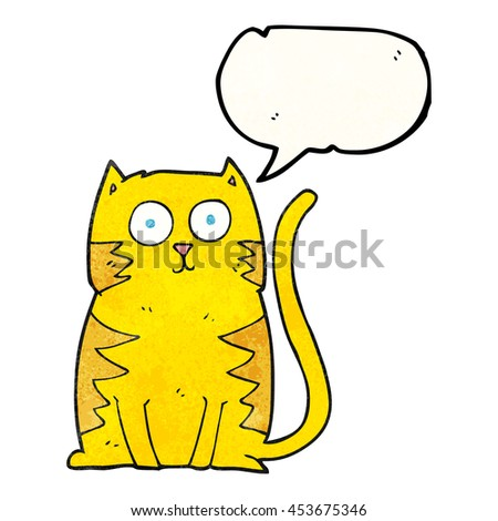 freehand speech bubble textured cartoon cat - stock photo