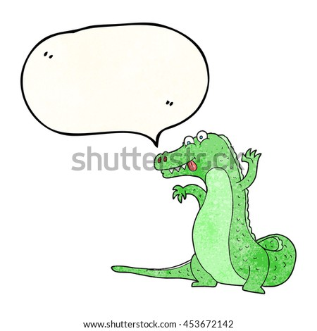 freehand speech bubble textured cartoon crocodile