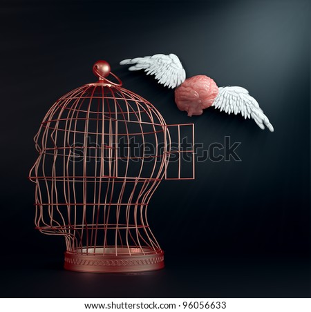 Freeing your mind - a winged brain flying away from a head-cage brain. - stock photo