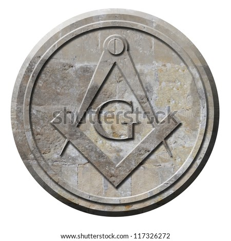 Freemason symbol of compass and square carved in stone circle - stock photo