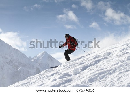 Freeriding in backcountry - stock photo