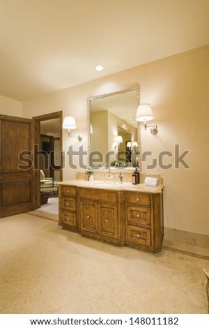 Freestanding wash hand basin in bathroom - stock photo