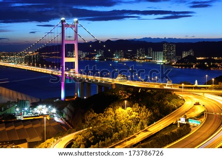 Freeway and bridge in Hong Kong - stock photo