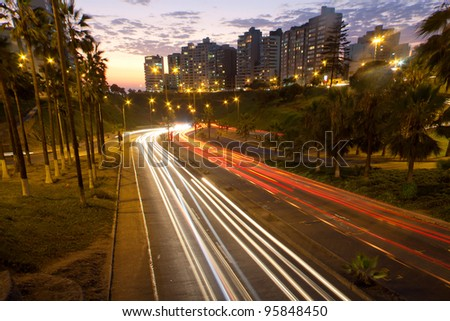 freeway at sunset, in lima,  peru - stock photo