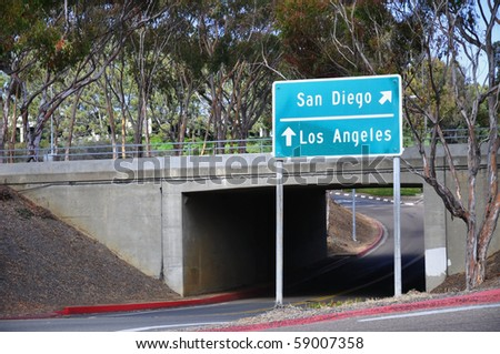 Freeway direction sign - stock photo