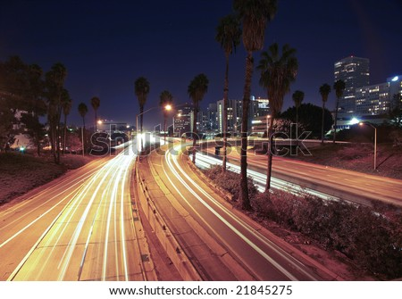 Freeway Exit in Los Angeles at Night - stock photo