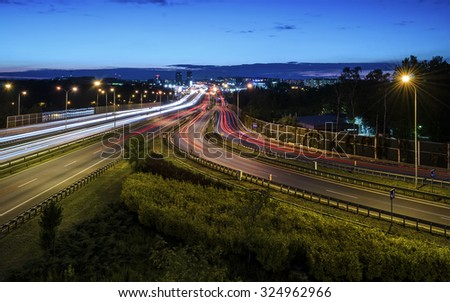 Freeway in Katowice, Poland in the evening. - stock photo