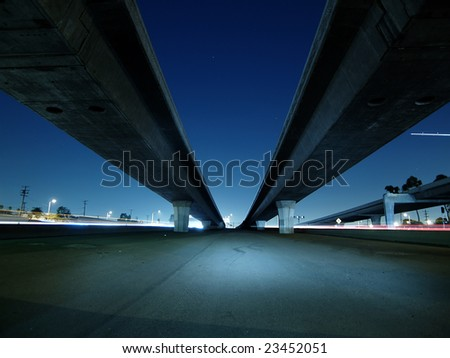 "freeway overpass and bridges in ""los angeles"" night lights"