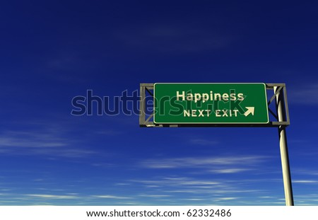 Freeway sign, next exit... Happiness!