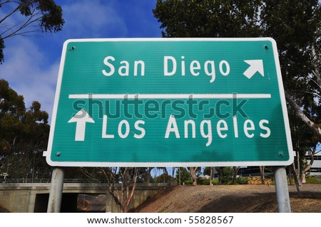 Freeway sign San Diego or Los Angeles - stock photo