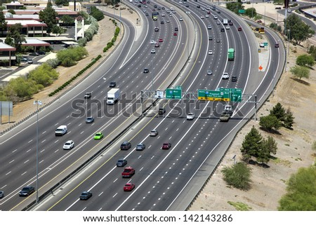 Freeway traffic along Interstate 10 - stock photo