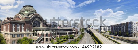 Freeways to City of Tacoma Washington with Union Station Federal Courthouse with Blue Sky and Clouds Panorama - stock photo
