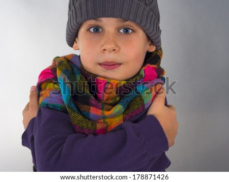 freezing boy - stock photo