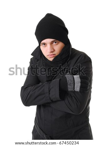 freezing man with winter clothing