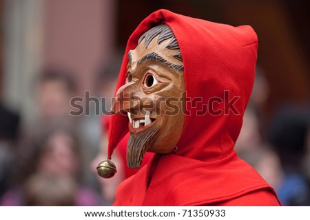 FREIBURG, GERMANY - FEB 15 : The annual carnival celebration, 'Fasnet' revives a centuries-old tradition of masked and costumed performances in the streets on February 15, 2010 in Germany